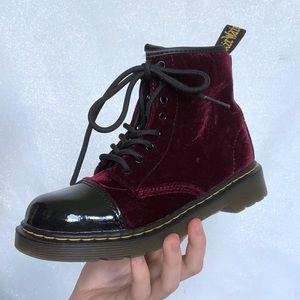 Dr. Martens Kids Red Velvet Boots